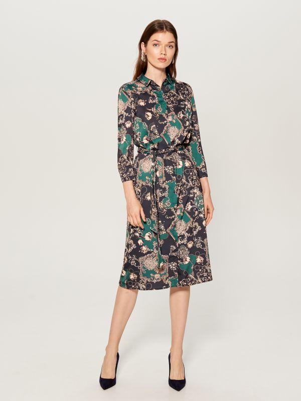Printed shirt dress - green - WB268-79P - Mohito - 3