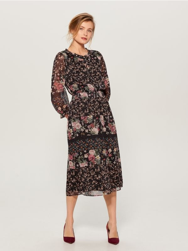 Floral dress - black - WB270-99P - Mohito - 1