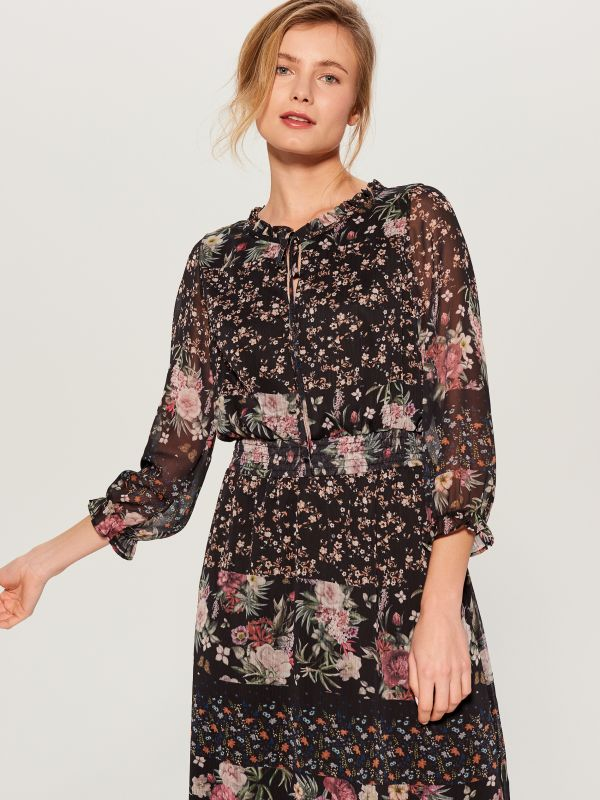 Floral dress - black - WB270-99P - Mohito - 3