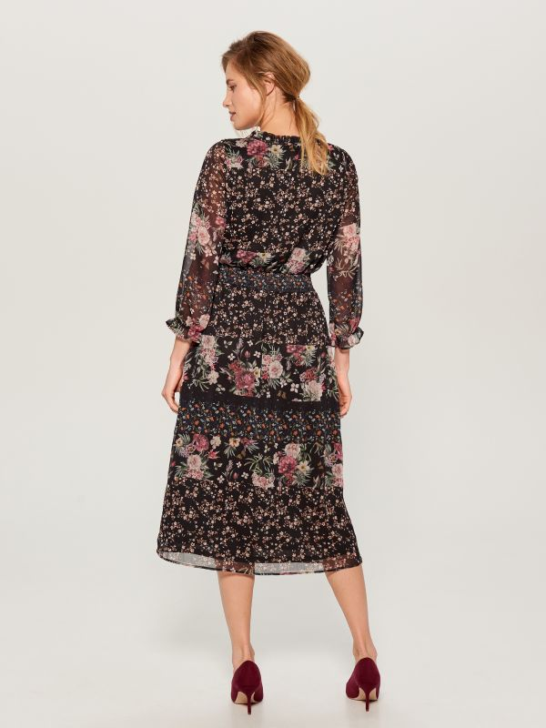 Floral dress - black - WB270-99P - Mohito - 4