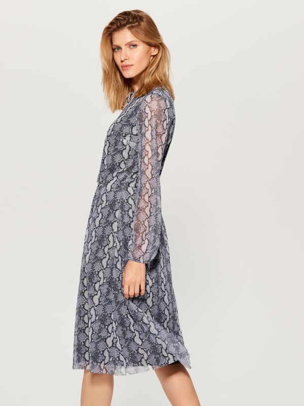 Snake print midi dress  - grey - WB307-90P - Mohito - 4