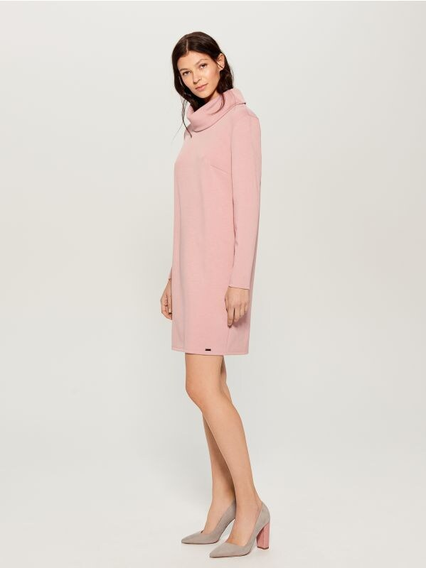 Wide turtleneck dress  - pink - WB309-03X - Mohito - 3