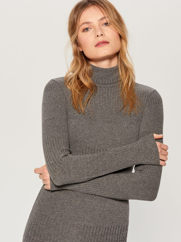 Fitted turtleneck dress - grey - WB466-90X - Mohito - 3