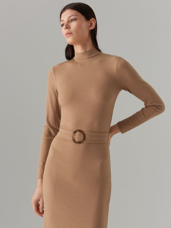 Fitted rib knit dress - beige - WE127-08X - Mohito - 2