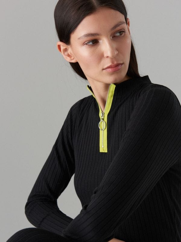Fitted rib knit dress - black - WF504-99X - Mohito - 4