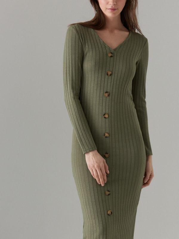 Fitted midi dress - khaki - WF519-87X - Mohito - 3