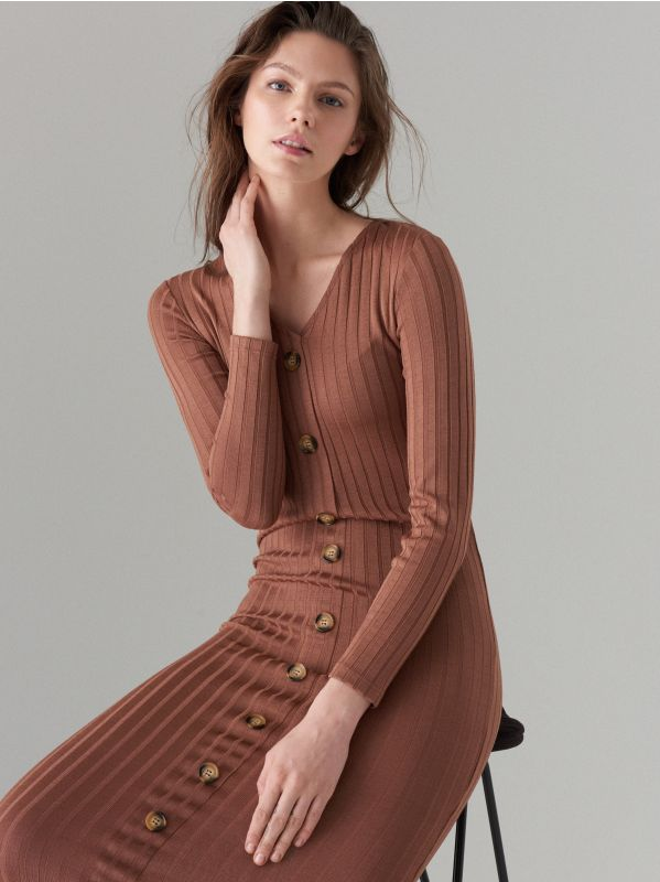 Fitted midi dress - brown - WF519-88X - Mohito - 3