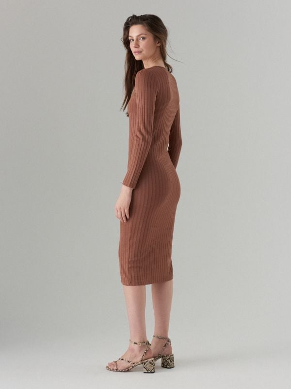 Fitted midi dress - brown - WF519-88X - Mohito - 4