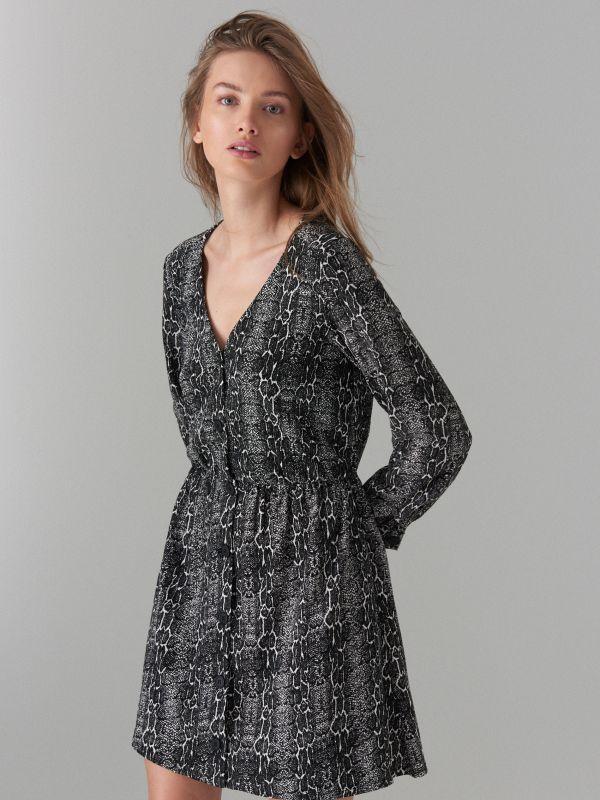 Snake print dress - black - WG847-99P - Mohito - 2