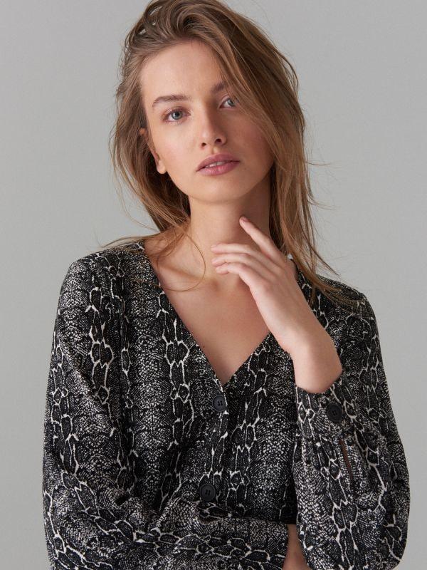 Snake print dress - black - WG847-99P - Mohito - 4