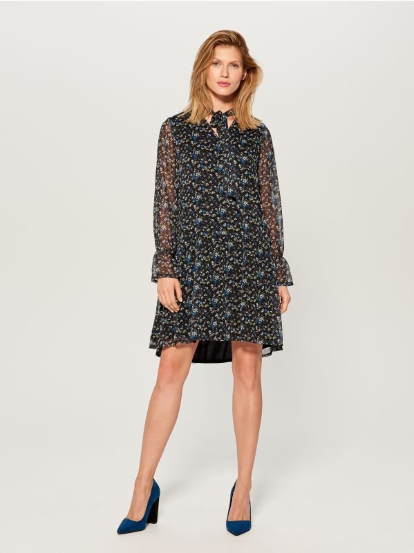 Floral print tie neck dress - blue - WG965-55P - Mohito - 1