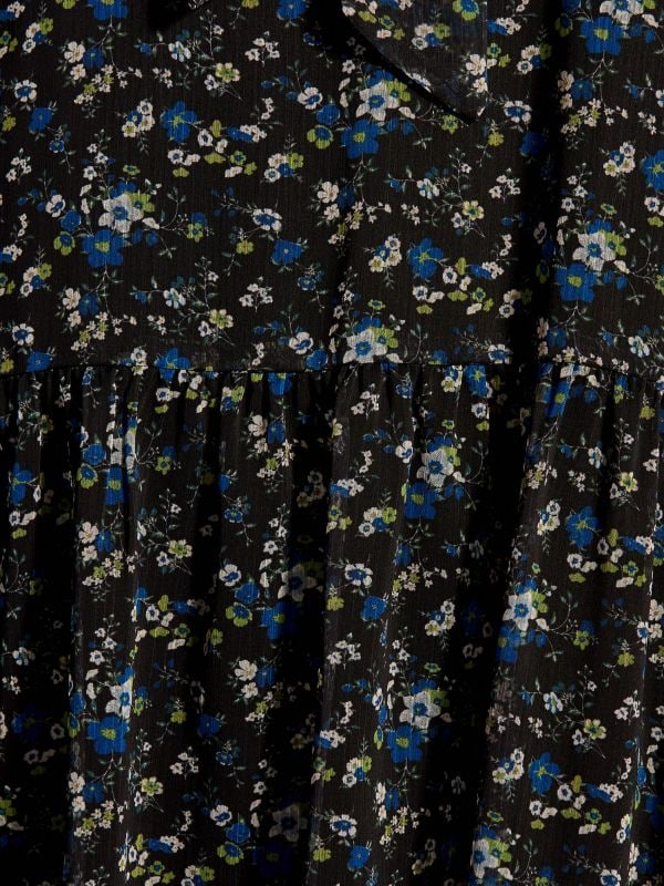 Floral print tie neck dress - blue - WG965-55P - Mohito - 6