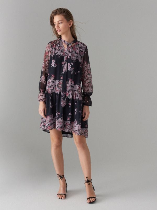 Floral print tie neck dress - black - WG965-99P - Mohito - 2