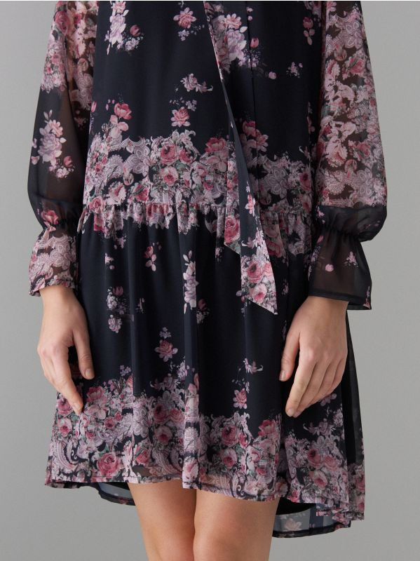 Floral print tie neck dress - black - WG965-99P - Mohito - 3