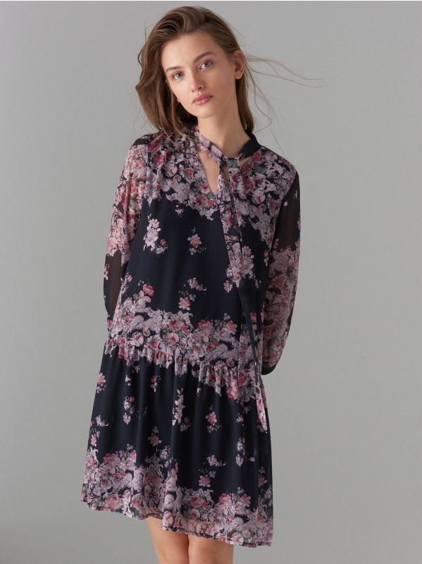 Floral print tie neck dress - black - WG965-99P - Mohito - 4