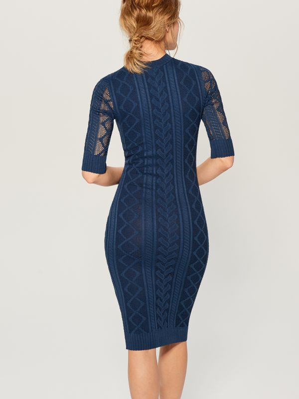 Fitted openwork dress - blue - WK895-50X - Mohito - 5