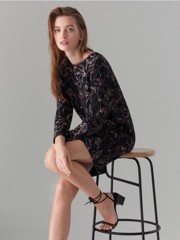 Face print cotton dress  - black - WK898-99X - Mohito - 1