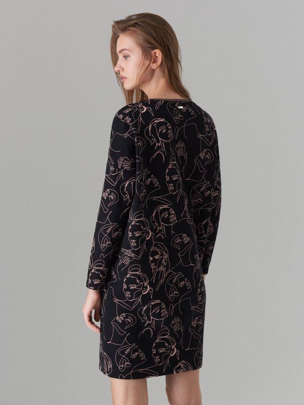 Face print cotton dress  - black - WK898-99X - Mohito - 4