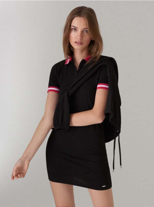 Fitted dress in rib  - black - WL169-99X - Mohito - 3