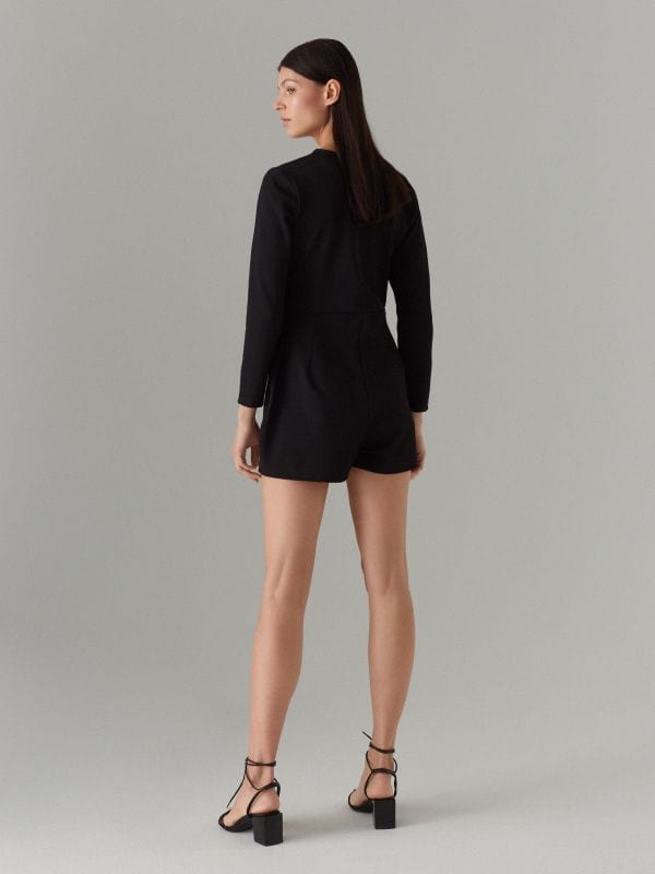 Long sleeve blazer playsuit - black - WL175-99X - Mohito - 4