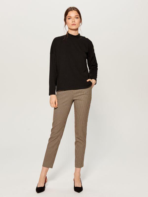 Checked cigarette trousers - beige - WP109-08P - Mohito - 1