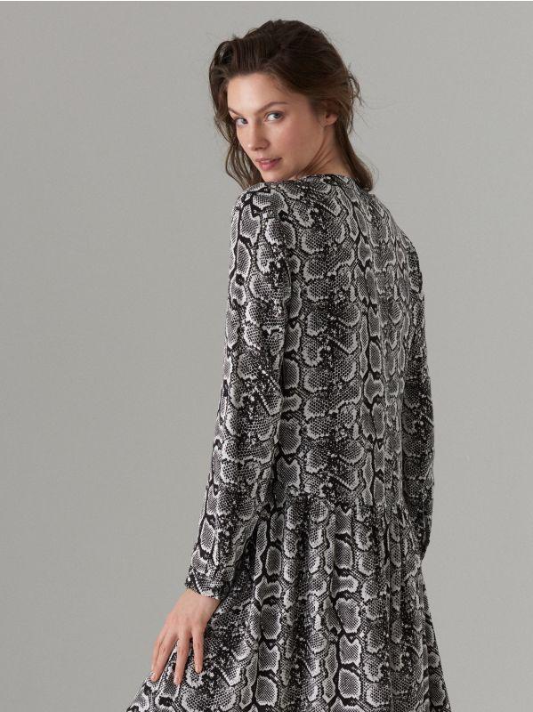 Snake print dress - white - WQ631-00P - Mohito - 5