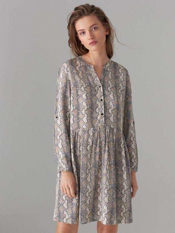 Snake print dress - beige - WQ631-08P - Mohito - 3