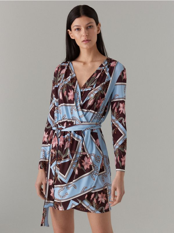 Wrap dress with tie waist - brown - WQ865-88P - Mohito - 1