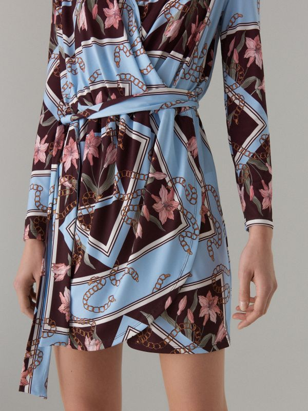 Wrap dress with tie waist - brown - WQ865-88P - Mohito - 3
