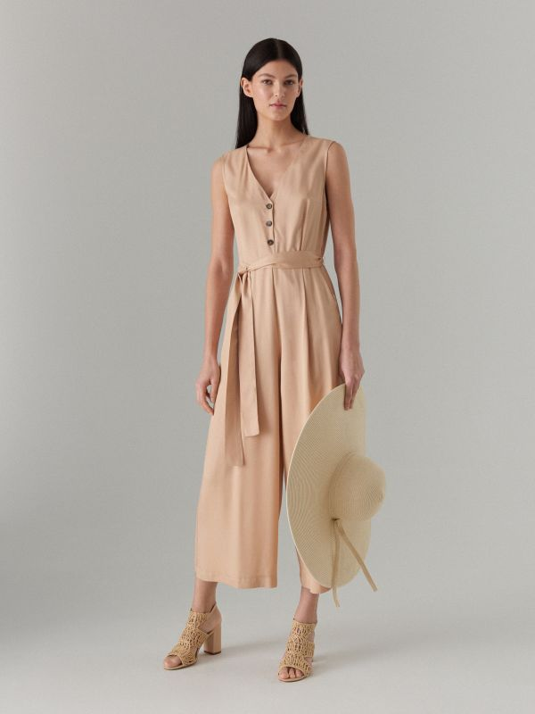 Jumpsuit with belt - beige - WW809-08X - Mohito - 1