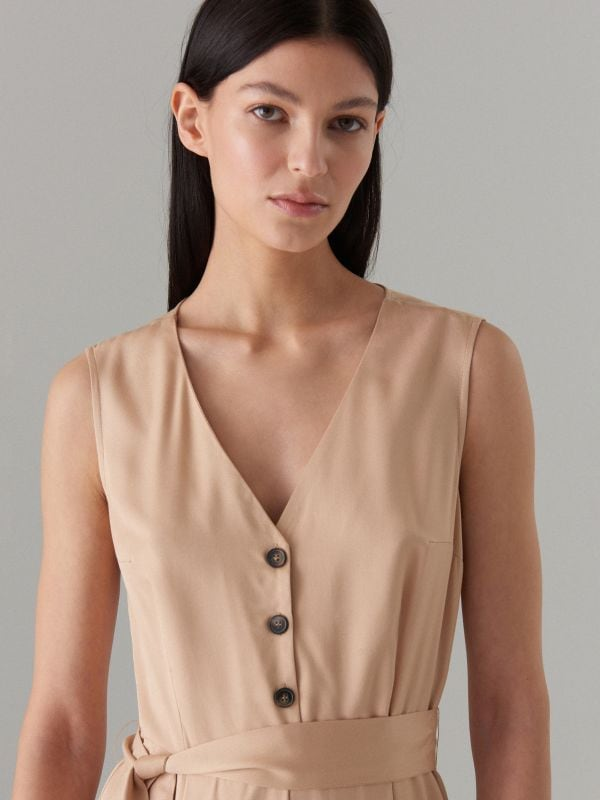 Jumpsuit with belt - beige - WW809-08X - Mohito - 5