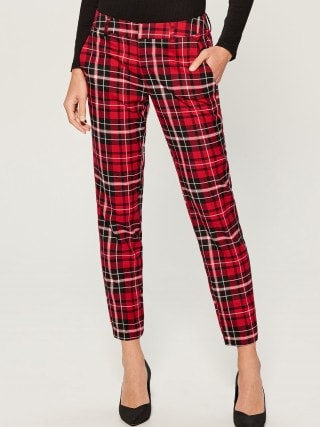Checked cigarette trousers