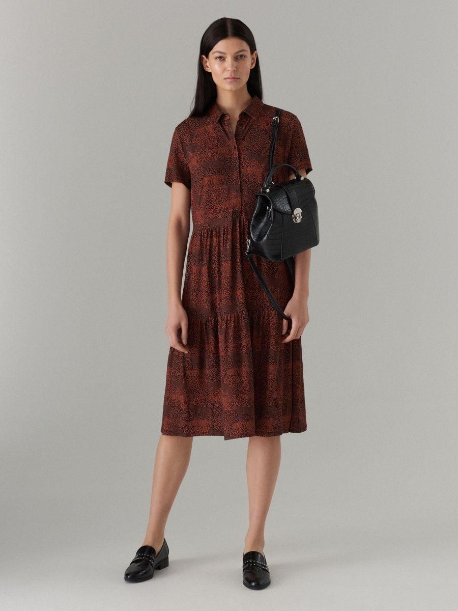 Платье-рубашка с анималистическим принтом - Коричневый - WF486-88P - Mohito - 1