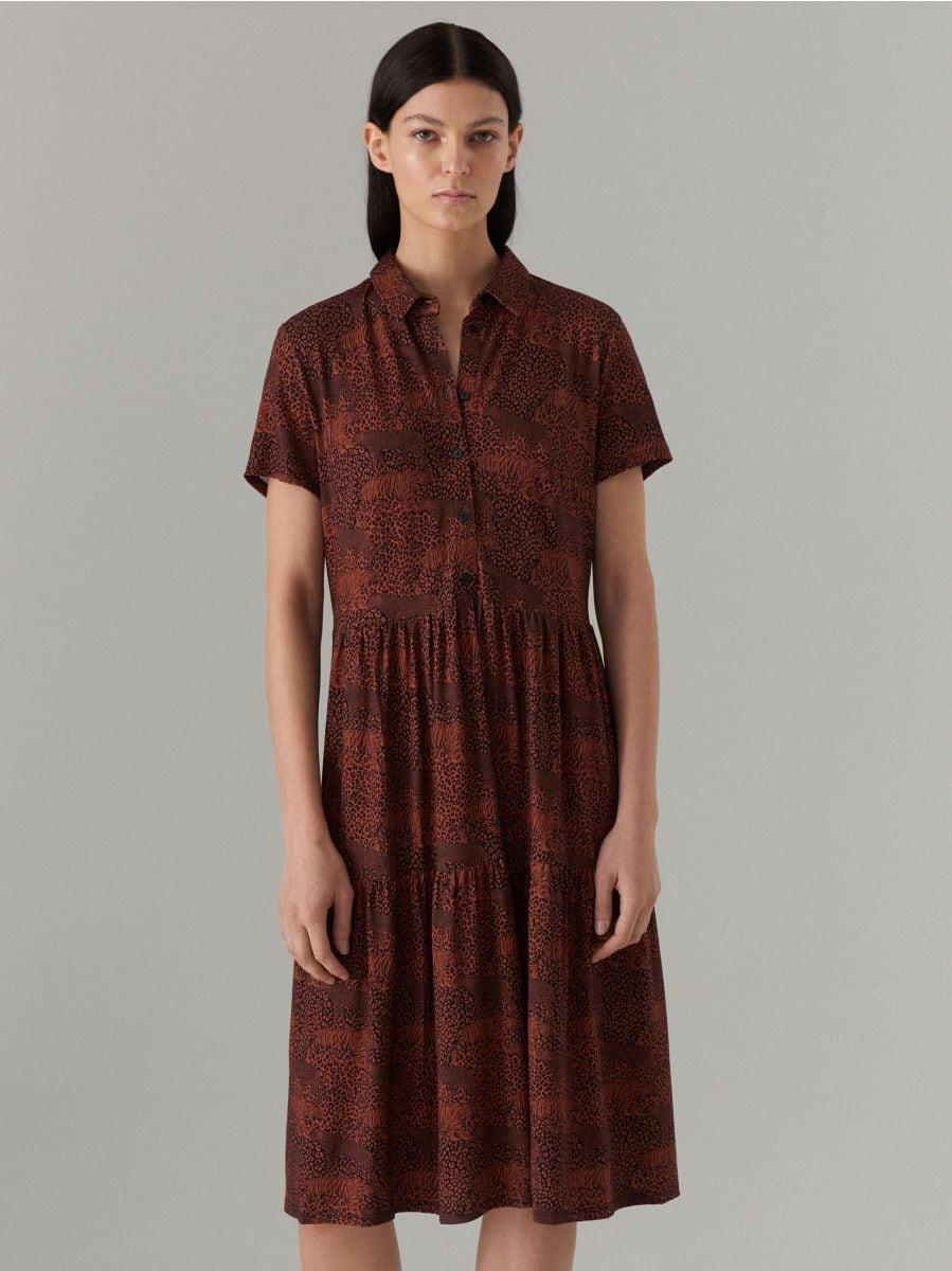 Платье-рубашка с анималистическим принтом - Коричневый - WF486-88P - Mohito - 3
