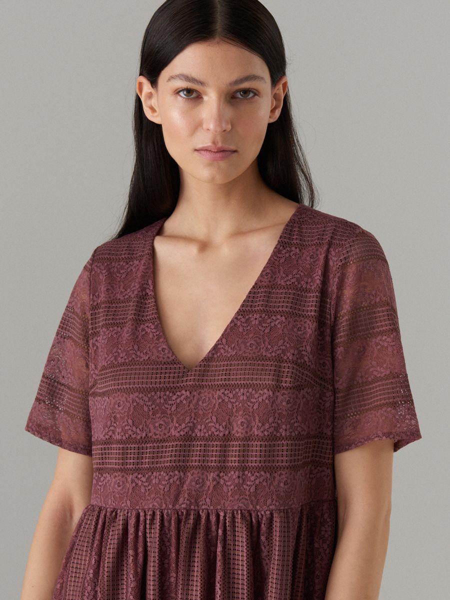 Кружевное платье с короткими рукавами - Коричневый - WF507-88X - Mohito - 2