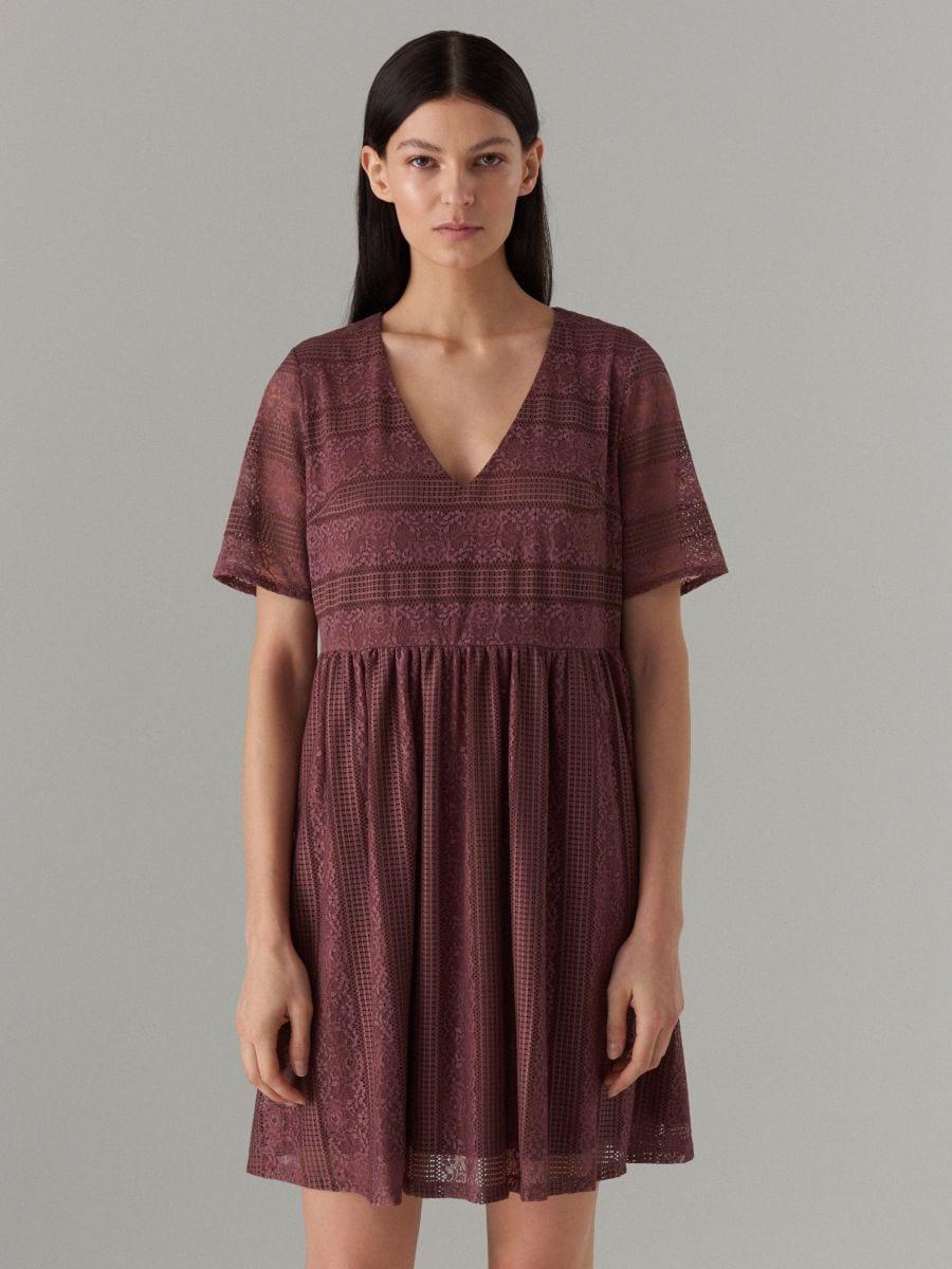 Кружевное платье с короткими рукавами - Коричневый - WF507-88X - Mohito - 3