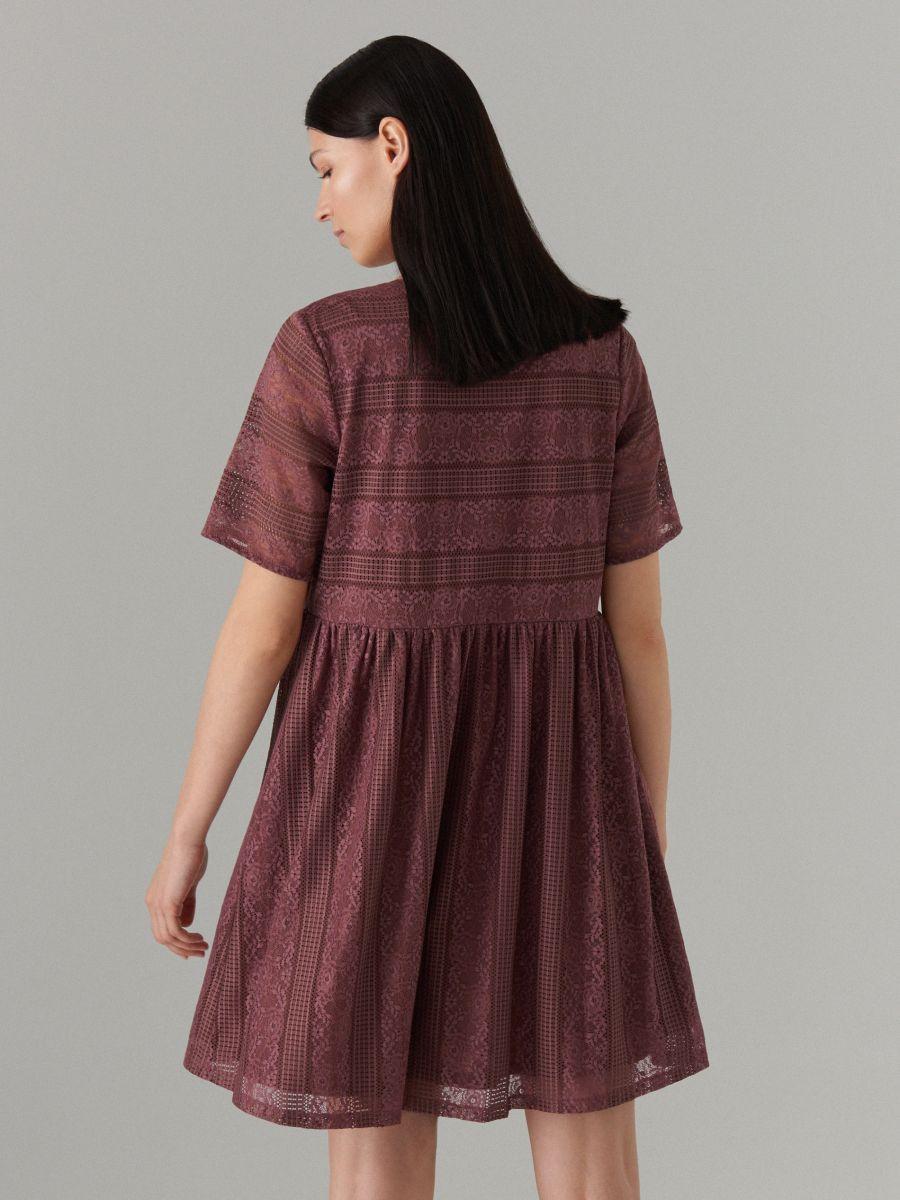 Кружевное платье с короткими рукавами - Коричневый - WF507-88X - Mohito - 5