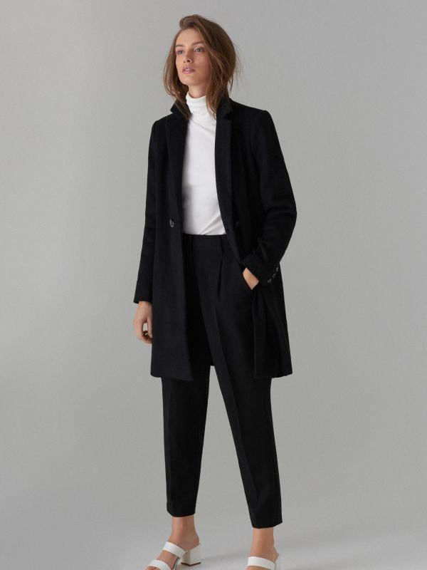 Пальто из материала с добавлением шерсти - Черный - VA421-99X - Mohito - 4