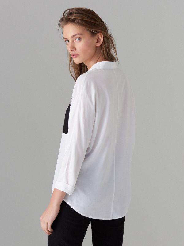 Рубашка с декоративным карманом - белый - VB667-00P - Mohito - 4