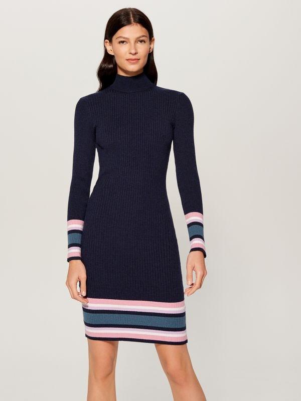 Облегающее трикотажное платье - Голубой - VL240-95X - Mohito - 3