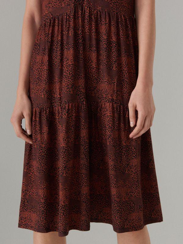 Платье-рубашка с анималистическим принтом - Коричневый - WF486-88P - Mohito - 4