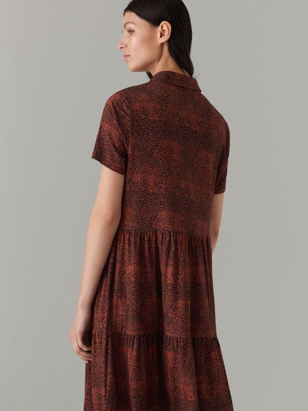 Платье-рубашка с анималистическим принтом - Коричневый - WF486-88P - Mohito - 5
