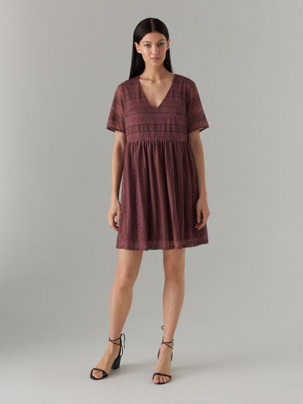 Кружевное платье с короткими рукавами - Коричневый - WF507-88X - Mohito - 1