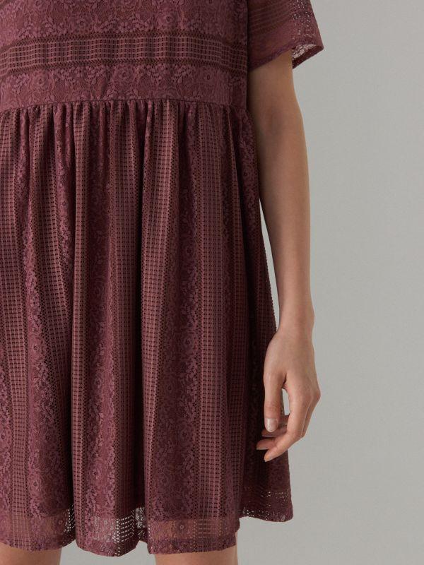 Кружевное платье с короткими рукавами - Коричневый - WF507-88X - Mohito - 4