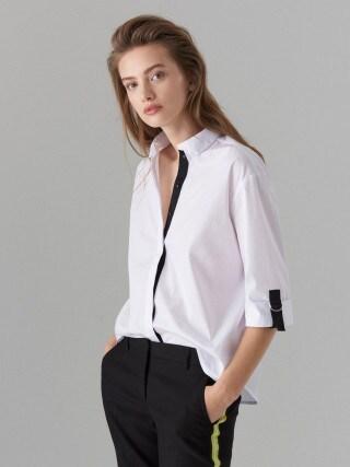 Рубашка oversize с декоративными лентами