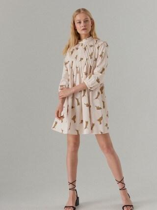 Хлопковое платье с воротником-стойкой